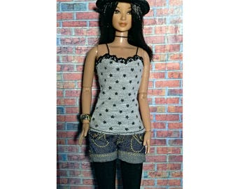 stars patterned top with spagetthi stripes, for Barbie, Fashion Royalty, Poppy Parker, Liv & other fashion dolls