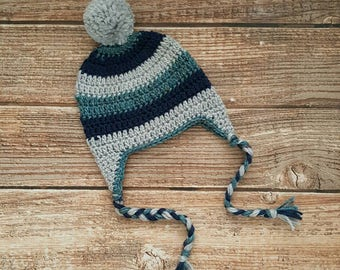 Striped Crochet Beanie, Boy Earflap Hat, Blue and Grey Hat, Winter/Fall Hat