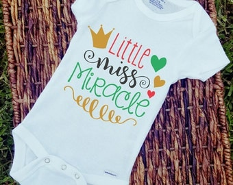 Little miss miracle baby onesie