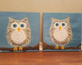 Twin Grey Owls Acrylic Canvas Art Paintings 2 Pieces: 10x10 Each