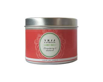 Strawberry Rhubarb, scented candle, candles, candle, fruit candle, fresh strawberry, sweet rhubarb, home fragrance, home decor, handmade