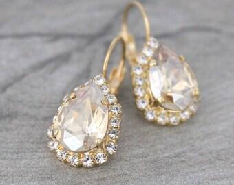 Crystal drop earrings, Bridal earrings, Wedding jewelry, Champagne crystal earrings, Bridesmaid earrings, Gold earrings, Swarovski earrings