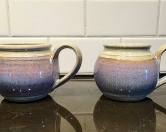 Two Handmade Lavender Grey Oatmeal Mugs