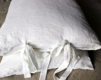 Linen pillowcases.Set of 2 Linen Pillowcases.Envelope closure.Long ties.Softened Baltic linen. Euro shams.Queen.King