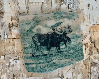 Natural Stone Coaster - Moose