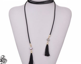 Choker collar Necklace (long) black gold tassel
