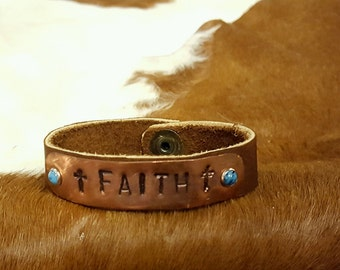 Faith copper stamped leather cuff