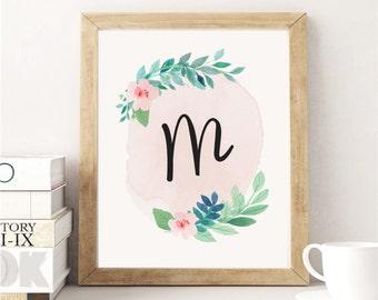 Printable Art, Custom Monogram Print, Nursery Gift, New Baby Gift, Girl's Nursery, Girl's Monogram Art, Floral Print, Custom Flower Art