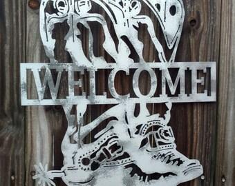 Metal welcome door hanger