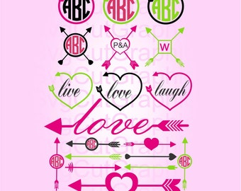 Arrow Monogram SVG Frames, SVG Files, Svg Arrows File, SVG Files for Cricut, Svg Cutting File, Silhouette Svg File, Cricut Svg Files