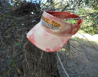"""Custom Bleached Out Sun Dyed Ripped Worn to DEATH Look """"SHOCK TOP"""" Visor Grungy"""