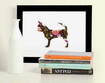 Chihuahua Framed Picture - Chihuahua Print - Chihuahua Art - Chihuahua Gift -  Lovers Gift - Free Gift Wrapping - Floral Print