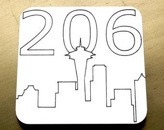 Seattle 206 Coasters - 4 pack - Modern Coasters, Seattle Coasters, Space Needle Coasters, Beer Coasters, Wine Coasters, Laser Cut Coasters