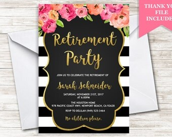 Retirement Party Invite Invitation Watercolor Floral Flowers Stripes Black White 5x7 Digital