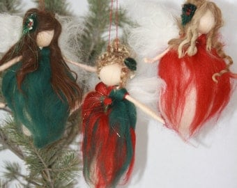 Needle Felted Waldorf Fairy -Christmas fairy- Christmas Angel- Tree Ornaments- Pick your favorate- Ready to Ship