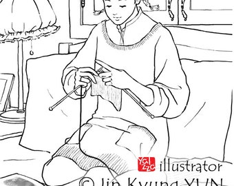 Adult Colouring Page, Printable Colouring Pages, girl, knitting, yalzza