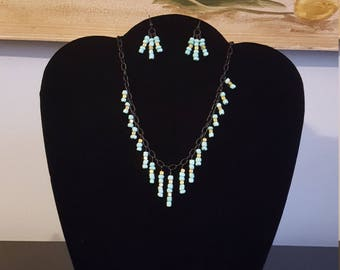 Turquoise and Gold Necklace and Earring Set