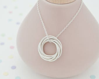 80th Birthday Gift For Her, 80th Birthday Jewellery, 80th Birthday Gift For Gran - Handmade '8 Rings For 8 Decades' Russian Ring Necklace