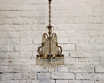 Beautiful Vintage Crystal Chandelier from Italy