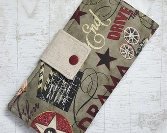 Movie print Womens wallet, Fabric clutch wallet, handmade womans wallet, bifold cash wallet, slim credit card wallet, gift idea