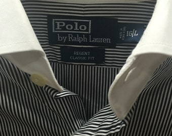 Polo Ralph Lauren L black and white stripped shirt