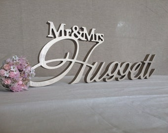 Custom wooden letters Mr & Mrs Last Name Wedding Table Sign Decor Big Center Piece Decoration Personalized Wedding Sign Wood Family Name