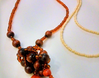 Handmade Glass beads with stones and wood beads, light, calm colors -  Suitable for most types of outfits- Unique NEW!