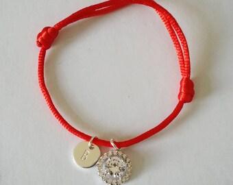 Red String Cord bracelet, Initial bracelet,Zircon charm bracelet, Hand stamped initial bracelet,Personalize bracelet,Friendship Bracelet