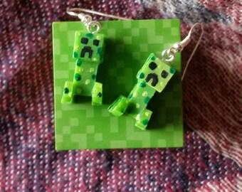 Minecraft Creeper inspired Earrings.