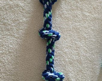 Fleece dog toy-triple knotted dog tug toy-in blue green and white