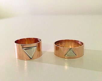 Rose Gold Band Ring- Sterling Silver Wide Band Ring- Promise Bands-Wedding Band-His and Hers Rings- Sterling Silver Wedding band set-