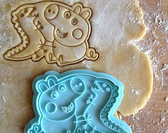 Peppa Pig cookie cutter. George cookie stamp. Kid's party supplies cookies