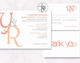Monogram wedding invitation. Modern wedding invitation. Coral and peach printable wedding invitation. Simple wedding invitation.