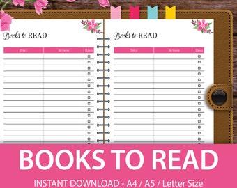 Books to Read Tracker, Books to Read List, Reading Log, A5 Planner, A4 Ring Binder, Big Happy Planner, Filofax A5 Inserts, Filofax Refills