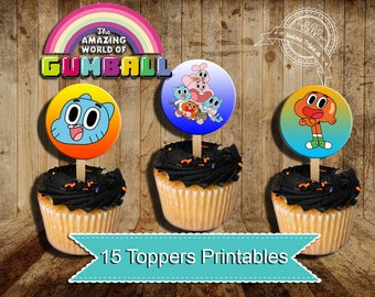 Amazing World of Gumball, Gumball Party, Gumball birthday, Gumball cupcakes toppers, gumball, darwin, cupcakes toppers
