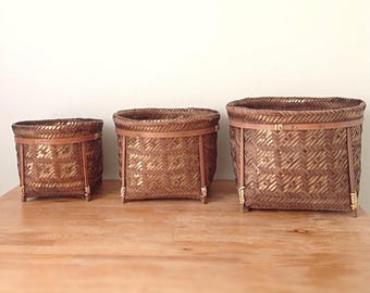 Vintage metallic basket plants, set of 3