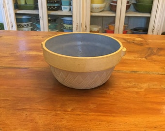 "8"" Tan and Blue Pottery Bowl - marked The German"