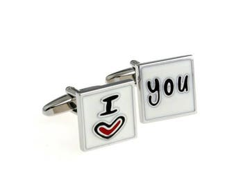 I Love You cuff links/Wedding cuff links/Gift cuff links