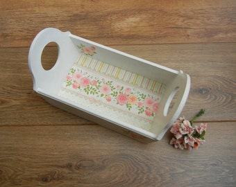 Floral rustic shabby chic wooden tray, decoupage floral wooden serving tray