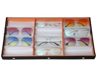 Ikee Design Plastic View Top Eyewear, Watch and Jewelry Case (SKU# TR-34BCL-OGand -RD)