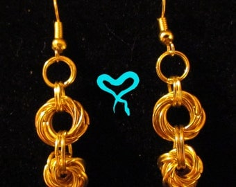 Gold Double Mobius Chainmail Earrings