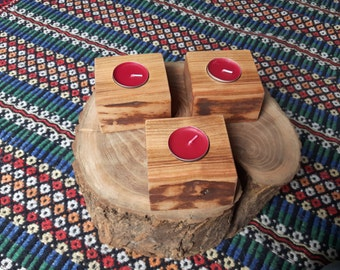 Set of 3 Solid Wood Tea Light Candle Holders - Live / Waney Edge - Wild Cherry