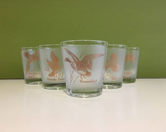 Retro Frosted Game Bird Lowball Tumblers