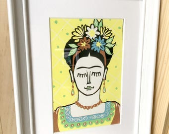 Original linocut, Frida Kahlo Mexican painter, art signed and numbered, ready to frame, unique home decor