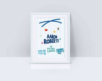 Personalised New Baby Birth Announcement Print with baby mobile theme for nursery with or without frame
