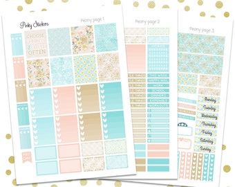 Peony Weekly Kit for Erin Condren   Printable   Includes Blackout Files for Easy Cutlines