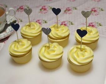 Blue and silver glitter card heart cupcake topper picks