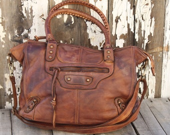 "Cognac Color Italian Leather Handbag ""Limited Edition"""