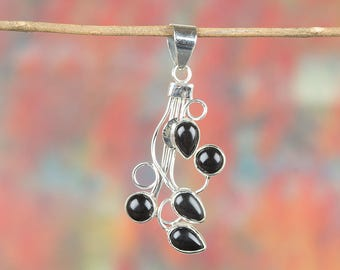 Black Onyx Pendant, Sterling Silver Pendant, February Birthstone, Cocktail Pendant, Stacking Pendant, Unique Designer Pendant, BJP-998-BO
