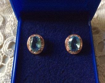 best price - VINTAGE SPLENDID Blue TOPAZ Earrings - 18 K Rose Gold - Plated Sparkly white Topaz - Nice Vintage Jewelry